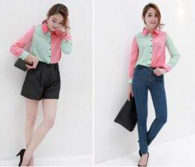 European style color mosaic chiffon blouse lapel long-sleeved shirt