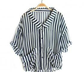 New hot spring loose women striped long-sleeved irregular hem shirt