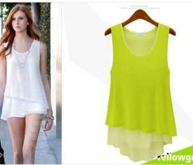 Summer new candy-colored wild double round neck sleeveless chiffon vest