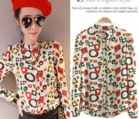 Long-sleeved chiffon shirt collar shirt retro print shirt