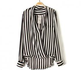 V-neck sexy vertical striped long-sleeved shirt clothing