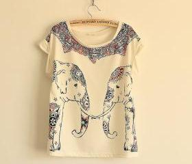 The elephant printing round leader T-shirt