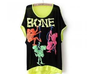 new fluorescent Skull short-sleeved T-shirt