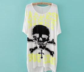 New large size fat MM fluorescence skull Kito pattern short-sleeved T-shirt