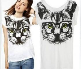 yellow eyes glasses big cat face short-sleeved T-shirt hot style good quality women's cotton t shirt print tees