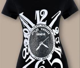HOT! Fashion style new arrive Diamond clock joker black short slevee women's t-shirt Big t shirt