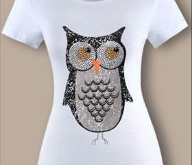 New style Sequined Set auger Cartoon Owl womens short sleeve cotton t-shirt high quality t shirt