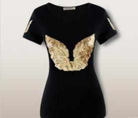 Angel wings Sequined slim O-neck short sleeve women's cotton t-shirt color black t shirt