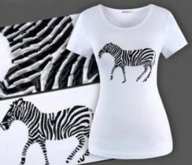 steric isomerism A zebra Beading high quality Character t-shirt women short sleeve t shirt