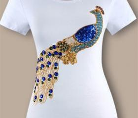 Top quality t shirt Embroidery Peacock Hammer bead Set auger Sequined women's short sleeve cotton t-shirt
