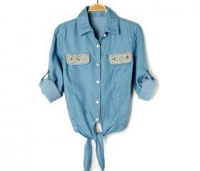 Retro ladies pocket pearl hem fine with denim shirt jeans