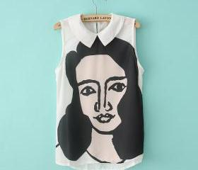 white Beauty head pattern lapel chiffon shirt