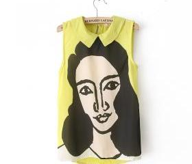 yellow Beauty head pattern lapel chiffon shirt
