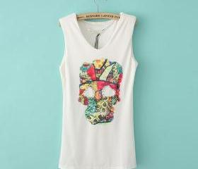 Skeleton skull diamond pattern vest long sections t-shirt