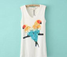 bird designer diamond pattern vest long sections t-shirt