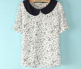 Little star printing doll collar short-sleeved chiffon T-shirt