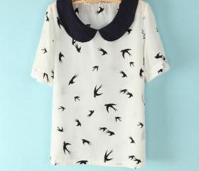 Swallow printing doll collar short-sleeved chiffon T-shirt