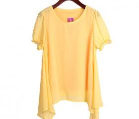 yellow color Two round neck loose irregular hem chiffon shirt t-shirt