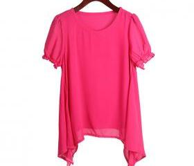 Rose color Two round neck loose irregular hem chiffon shirt t-shirt
