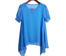 blue color Two round neck loose irregular hem chiffon shirt t-shirt