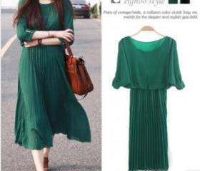 Sweet round neck strapless sleeve pleated chiffon dress