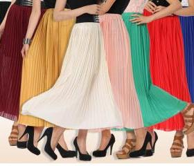 bohemian skirts chiffon pleated skirt