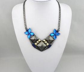 Jewelry sapphire diamond Punk necklace A-280 fashion