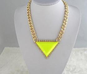 Jewelry wealthy triangle gemstone necklace A-273 fashion