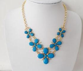 Jewelry flowers precious stones necklace A-169 fashion