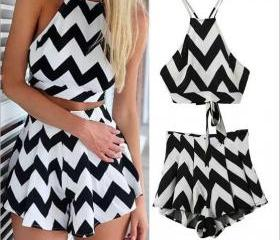 Women's Fashion Wave pattern sexy shorts suit WDK19781