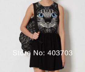 fashion women's dresses women new Korean cat Slim bottoming skirt vest dress