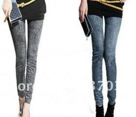 Ladies' Skinny Slim Elastic Denim Jeans Leggings Pencil Pants snow