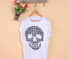 Increased skull women fat mm summer Korean women's clothing t-shirts summer loose modal T-shirt short-sleeved