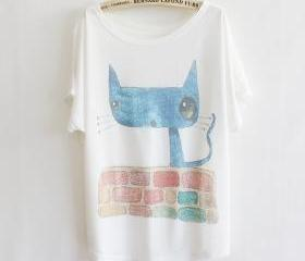 courtyard cat loose bat sleeve T-shirt short-sleeved, Top, t-shirt, Casual