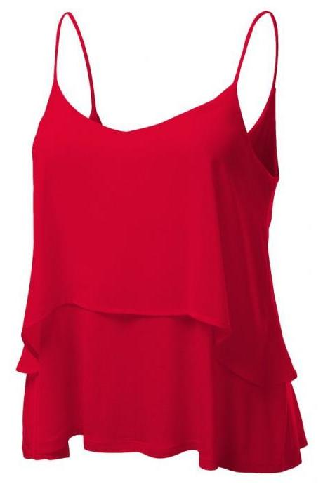 Red Chiffon Sling Tank Tops