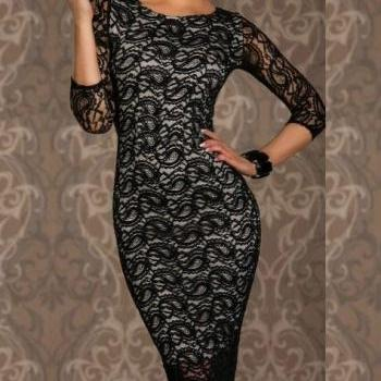 Free shipping women's cothing Lowest price New Sexy Siren Paisley Lace Midi Dress