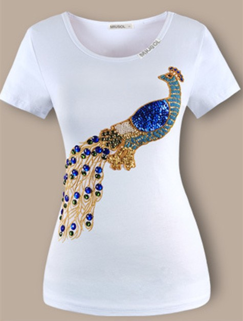 Top quality t shirt embroidery peacock hammer bead set
